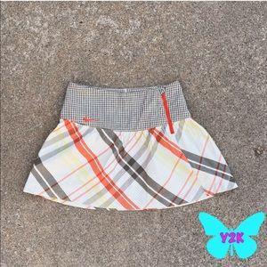Nike ruffled Orange and grey plaid golf mini skirt